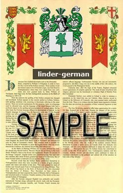 LINDER - GERMAN - Armorial Name History - Coat of Arms - Family Crest GIFT! 8.5x11