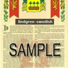 LINDGREN - SWEDISH - Armorial Name History - Coat of Arms - Family Crest GIFT! 8.5x11