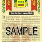 LINDHOLM - SWEDISH - Armorial Name History - Coat of Arms - Family Crest GIFT! 8.5x11