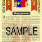 LING - GERMAN - Armorial Name History - Coat of Arms - Family Crest GIFT! 8.5x11