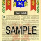 LINN - IRISH - Armorial Name History - Coat of Arms - Family Crest GIFT! 8.5x11