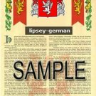 LIPSEY - GERMAN - Armorial Name History - Coat of Arms - Family Crest GIFT! 8.5x11