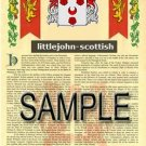 LITTLEJOHN - SCOTTISH - Armorial Name History - Coat of Arms - Family Crest GIFT! 8.5x11