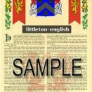 LITTLETON - ENGLISH - Armorial Name History - Coat of Arms - Family Crest GIFT! 8.5x11