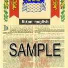 LITTON - ENGLISH - Armorial Name History - Coat of Arms - Family Crest GIFT! 8.5x11