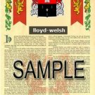 LLOYD - WELSH - Armorial Name History - Coat of Arms - Family Crest GIFT! 8.5x11
