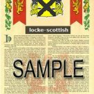 LOCKE - SCOTTISH - Armorial Name History - Coat of Arms - Family Crest GIFT! 8.5x11