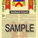 LOMBARD - FRENCH - Armorial Name History - Coat of Arms - Family Crest GIFT! 8.5x11