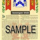 LONERGAN - IRISH - Armorial Name History - Coat of Arms - Family Crest GIFT! 8.5x11