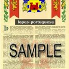 LOPES - PORTUGUESE - Armorial Name History - Coat of Arms - Family Crest GIFT! 8.5x11