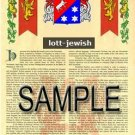 LOTT - JEWISH - Armorial Name History - Coat of Arms - Family Crest GIFT! 8.5x11