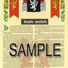 LOUIS - WELSH - Armorial Name History - Coat of Arms - Family Crest GIFT! 8.5x11