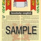 LOVELADY - ENGLISH - Armorial Name History - Coat of Arms - Family Crest GIFT! 8.5x11