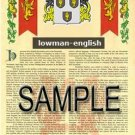 LOWMAN - ENGLISH - Armorial Name History - Coat of Arms - Family Crest GIFT! 8.5x11