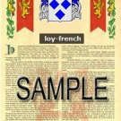 LOY - FRENCH - Armorial Name History - Coat of Arms - Family Crest GIFT! 8.5x11
