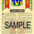 LUCAS - ITALIAN - Armorial Name History - Coat of Arms - Family Crest GIFT! 8.5x11