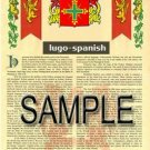 LUGO - SPANISH - Armorial Name History - Coat of Arms - Family Crest GIFT! 8.5x11
