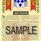 LUIS - FRENCH - Armorial Name History - Coat of Arms - Family Crest GIFT! 8.5x11
