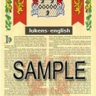 LUKENS - ENGLISH - Armorial Name History - Coat of Arms - Family Crest GIFT! 8.5x11
