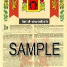 LUND - SWEDISH - Armorial Name History - Coat of Arms - Family Crest GIFT! 8.5x11