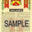 LUNN - ENGLISH - Armorial Name History - Coat of Arms - Family Crest GIFT! 8.5x11