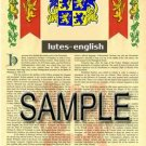 LUTES - ENGLISH - Armorial Name History - Coat of Arms - Family Crest GIFT! 8.5x11