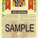 LUTZ - GERMAN - Armorial Name History - Coat of Arms - Family Crest GIFT! 8.5x11