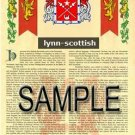 LYNN - SCOTTISH - Armorial Name History - Coat of Arms - Family Crest GIFT! 8.5x11