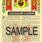 MACDONALD - SCOTTISH - Armorial Name History - Coat of Arms - Family Crest GIFT! 8.5x11