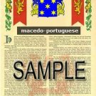 MACEDO - PORTUGUESE - Armorial Name History - Coat of Arms - Family Crest GIFT! 8.5x11