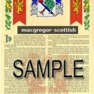 MACGREGOR - SCOTTISH - Armorial Name History - Coat of Arms - Family Crest GIFT! 8.5x11