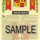 MACK - DUTCH - Armorial Name History - Coat of Arms - Family Crest GIFT! 8.5x11
