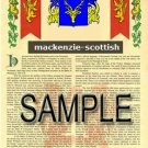 MACKENZIE - SCOTTISH - Armorial Name History - Coat of Arms - Family Crest GIFT! 8.5x11