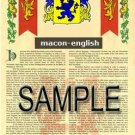 MACON - ENGLISH - Armorial Name History - Coat of Arms - Family Crest GIFT! 8.5x11