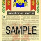 MACPHERSON - SCOTTISH - Armorial Name History - Coat of Arms - Family Crest GIFT! 8.5x11