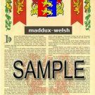 MADDUX - WELSH - Armorial Name History - Coat of Arms - Family Crest GIFT! 8.5x11
