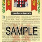 MADORE - FRENCH - Armorial Name History - Coat of Arms - Family Crest GIFT! 8.5x11