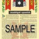 MADRIGAL - SPANISH - Armorial Name History - Coat of Arms - Family Crest GIFT! 8.5x11