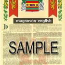 MAGNUSON - ENGLISH - Armorial Name History - Coat of Arms - Family Crest GIFT! 8.5x11