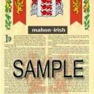 MAHON - IRISH - Armorial Name History - Coat of Arms - Family Crest GIFT! 8.5x11