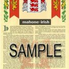MAHONE - IRISH - Armorial Name History - Coat of Arms - Family Crest GIFT! 8.5x11