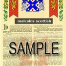 MALCOLM - SCOTTISH - Armorial Name History - Coat of Arms - Family Crest GIFT! 8.5x11