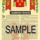 MALLETTE - FRENCH - Armorial Name History - Coat of Arms - Family Crest GIFT! 8.5x11