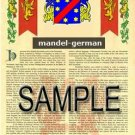MANDEL - GERMAN - Armorial Name History - Coat of Arms - Family Crest GIFT! 8.5x11