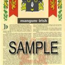 MANGUM - IRISH - Armorial Name History - Coat of Arms - Family Crest GIFT! 8.5x11