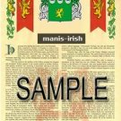MANIS - IRISH - Armorial Name History - Coat of Arms - Family Crest GIFT! 8.5x11