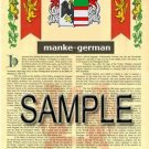MANKE - GERMAN - Armorial Name History - Coat of Arms - Family Crest GIFT! 8.5x11