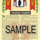 MANLEY - ENGLISH - Armorial Name History - Coat of Arms - Family Crest GIFT! 8.5x11
