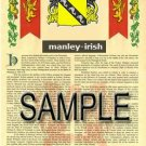 MANLEY - IRISH - Armorial Name History - Coat of Arms - Family Crest GIFT! 8.5x11