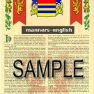 MANNERS - ENGLISH - Armorial Name History - Coat of Arms - Family Crest GIFT! 8.5x11